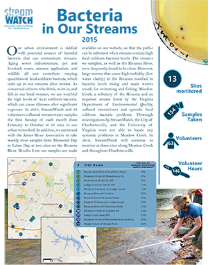 StreamWatch Bacteria Report 2015