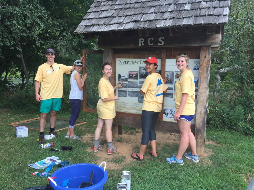 RCA Staff and Volunteers Restoring the Kiosk